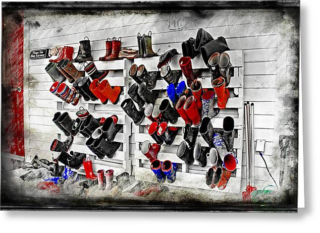 Mecklenberg County Greeting Cards - Boots On the Wall Means Kids In the Hall Greeting Card by Cye Gray