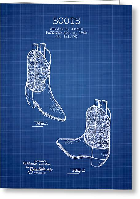 High Heeled Digital Art Greeting Cards - Boots patent from 1940 - Blueprint Greeting Card by Aged Pixel