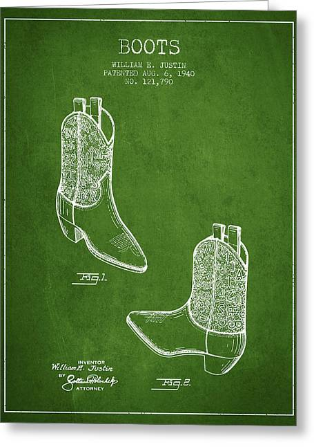High Heeled Digital Art Greeting Cards - Boots patent from 1940 - Green Greeting Card by Aged Pixel