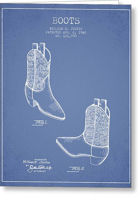 High Heeled Digital Art Greeting Cards - Boots patent from 1940 - Light Blue Greeting Card by Aged Pixel