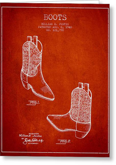 High Heeled Digital Art Greeting Cards - Boots patent from 1940 - Red Greeting Card by Aged Pixel
