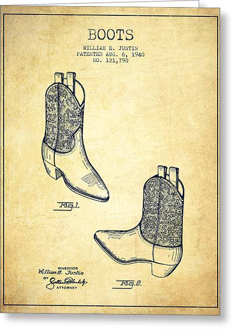 High Heeled Digital Art Greeting Cards - Boots patent from 1940 - Vintage Greeting Card by Aged Pixel