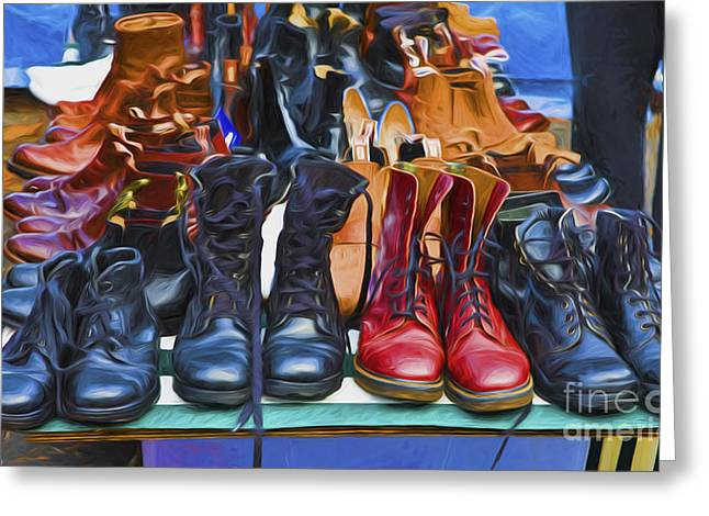 Old Boot Greeting Cards - Boots Greeting Card by Sheila Smart