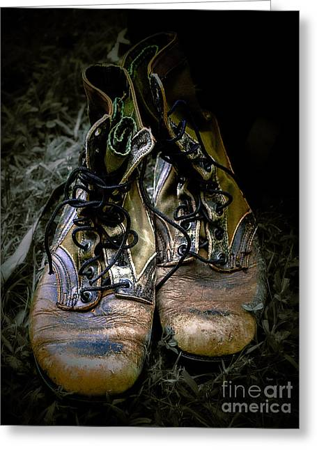 Grunts Greeting Cards - Boots that Grunt  Greeting Card by Steven  Digman