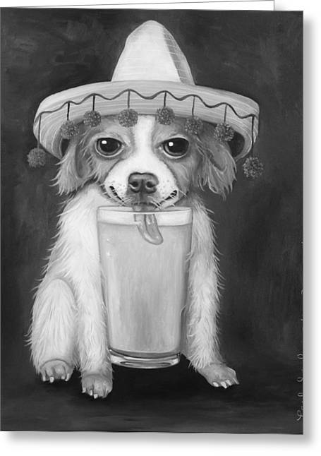 Mexican Fiesta Greeting Cards - Boozer bw Greeting Card by Leah Saulnier The Painting Maniac
