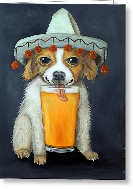 Mexicano Greeting Cards - Boozer Greeting Card by Leah Saulnier The Painting Maniac