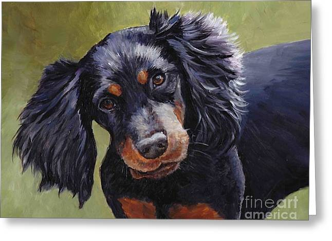 Gordon Setter Puppy Greeting Cards - Boozer the Gordon Setter Greeting Card by Charlotte Yealey