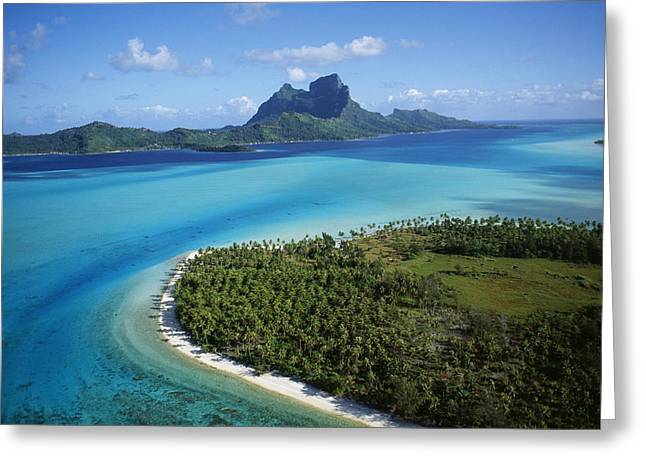 Boras Greeting Cards - Bora Bora Aerial Greeting Card by Douglas Peebles