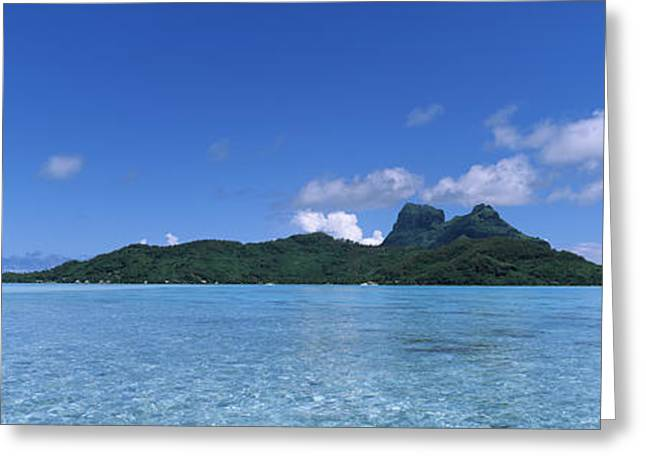 Ocean Photography Greeting Cards - Bora Bora From Motu Iti, Society Greeting Card by Panoramic Images