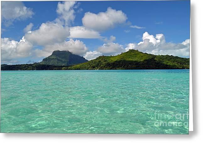 Fineartamerica Greeting Cards - Bora Bora Green Water Greeting Card by Eva Kaufman