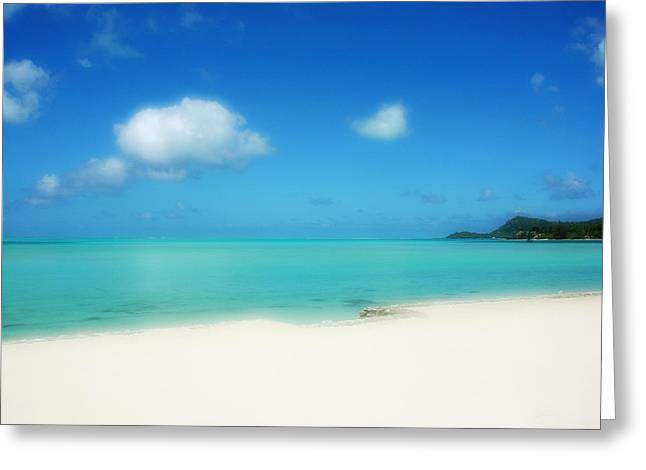 Julie Palencia Greeting Cards - Bora Shades of Blue and White Greeting Card by Julie Palencia