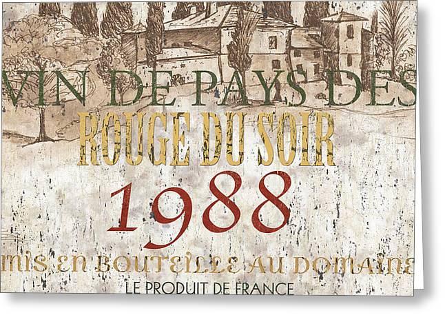 Bordeaux Blanc Label 1 Greeting Card by Debbie DeWitt
