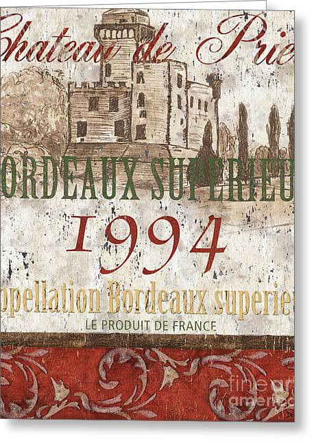 Red Wine Greeting Cards - Bordeaux Blanc Label 2 Greeting Card by Debbie DeWitt