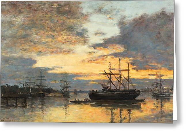 Boats In Harbor Greeting Cards - Bordeaux In the Harbor Greeting Card by Eugene Louis Boudin
