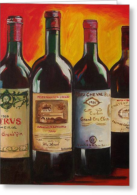 Wine Bottle Paining Paintings Greeting Cards - Bordeaux Greeting Card by Sheri  Chakamian