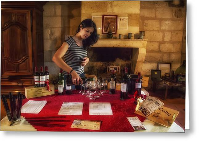 Wine Pouring Greeting Cards - Bordeaux Wine Tasting Tour Greeting Card by Nomad Art And  Design
