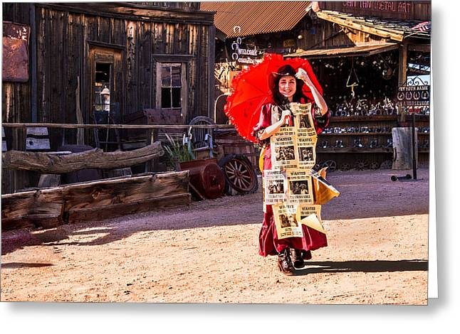 Saloons Greeting Cards - Bordello Girl Goldfield Arizona Greeting Card by  Bob Johnston