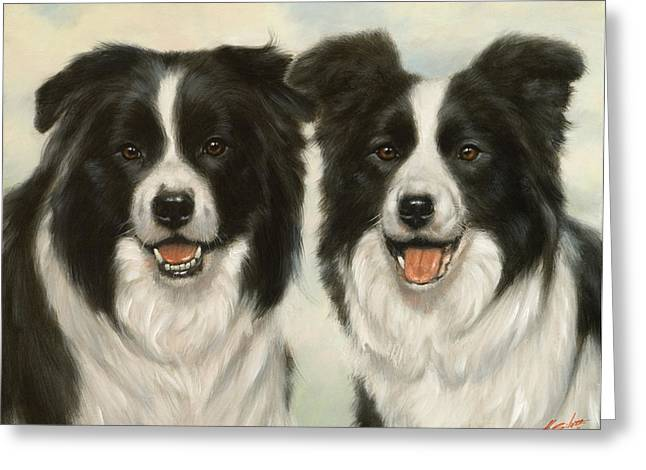 Dry Lake Paintings Greeting Cards - Border Collie pair Greeting Card by John Silver