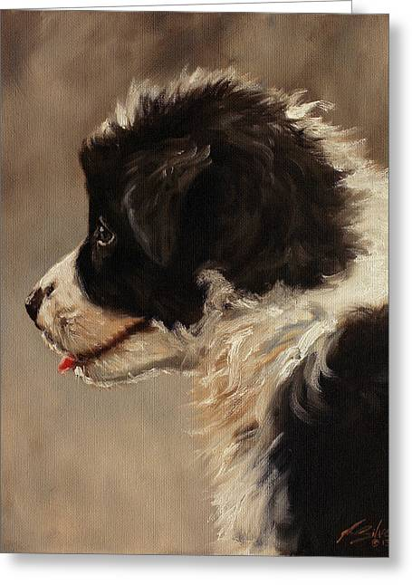 Dry Lake Paintings Greeting Cards - Border Collie pup portrait Greeting Card by John Silver