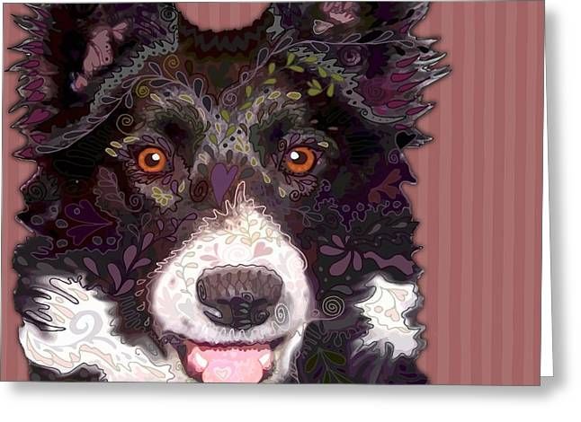 Border Collie Greeting Card by Sharon Marcella Marston