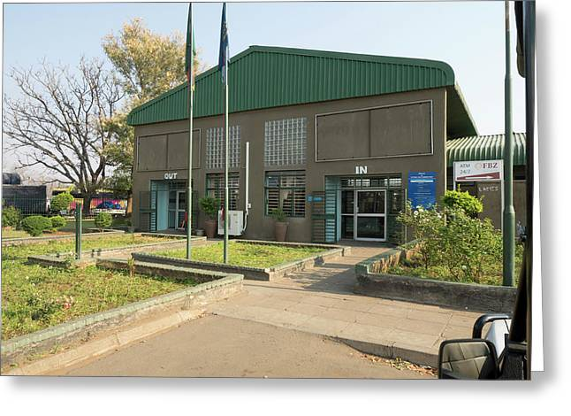 Border Crossing Building In Zambia Greeting Card by Panoramic Images