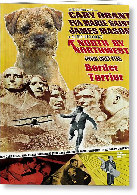 Border Terrier Art Canvas Print - North By Northwest Movie Poster Greeting Card by Sandra Sij