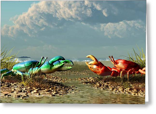 Beach Themed Art Greeting Cards - Border War Greeting Card by Daniel Eskridge