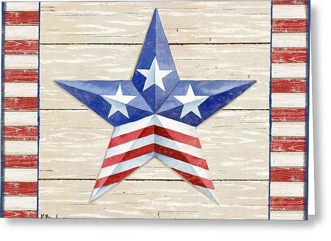 The White Stripes Greeting Cards - Bordered Patriotic Barn Star II Greeting Card by Paul Brent