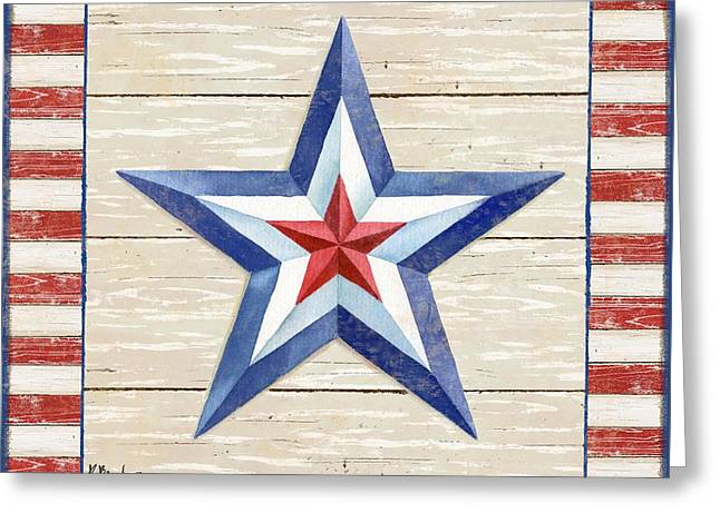 The White Stripes Greeting Cards - Bordered Patriotic Barn Star III Greeting Card by Paul Brent