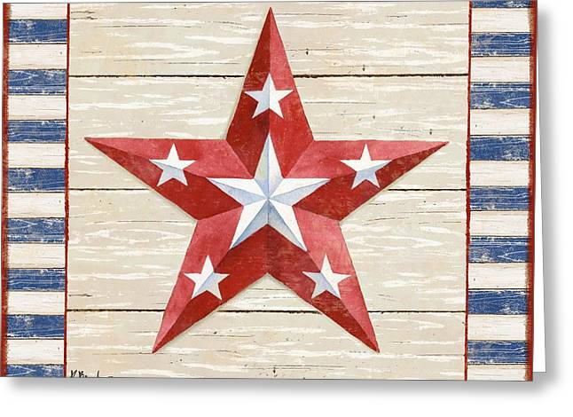 The White Stripes Greeting Cards - Bordered Patriotic Barn Star IV Greeting Card by Paul Brent
