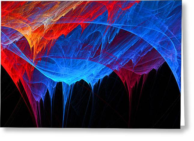 Red Wall Greeting Cards - Borealis - Blue and Red Abstract Greeting Card by Lourry Legarde