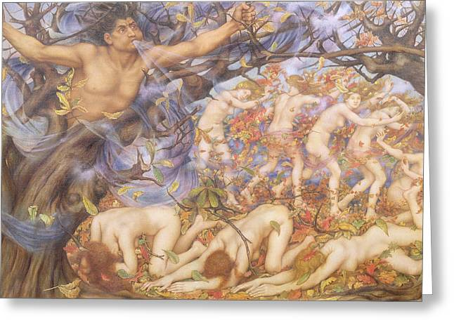 Williams Greeting Cards - Boreas and Fallen Leaves Greeting Card by Evelyn De Morgan