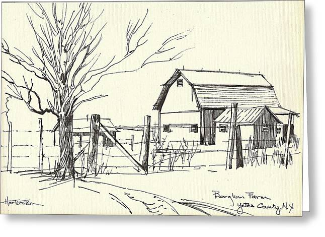 Barn Pen And Ink Greeting Cards - Borglums Barn Greeting Card by Joan Hartenstein