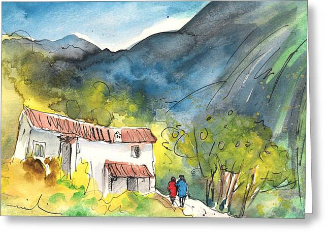 Garden Scene Drawings Greeting Cards - Borgo in Italy 01 Greeting Card by Miki De Goodaboom