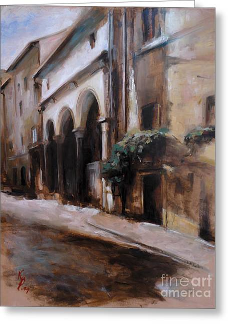 Haus Paintings Greeting Cards - Borgo S.Frediano / Florence / Italy Greeting Card by Karina Plachetka