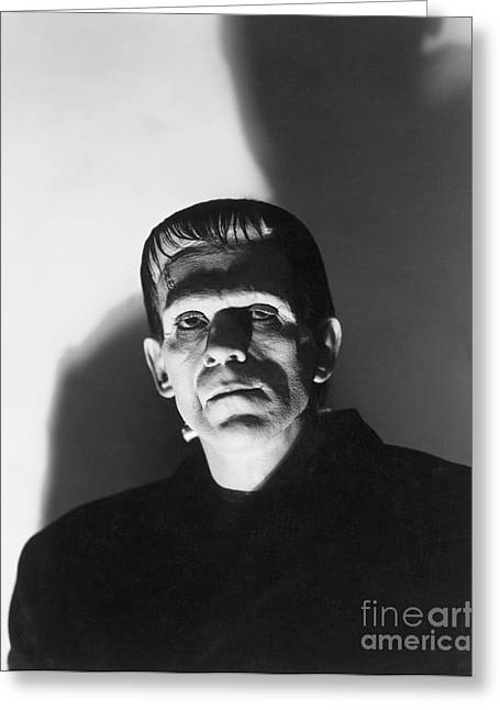 Horror Greeting Cards - Boris Karloff - Frankenstein Greeting Card by MMG Archives