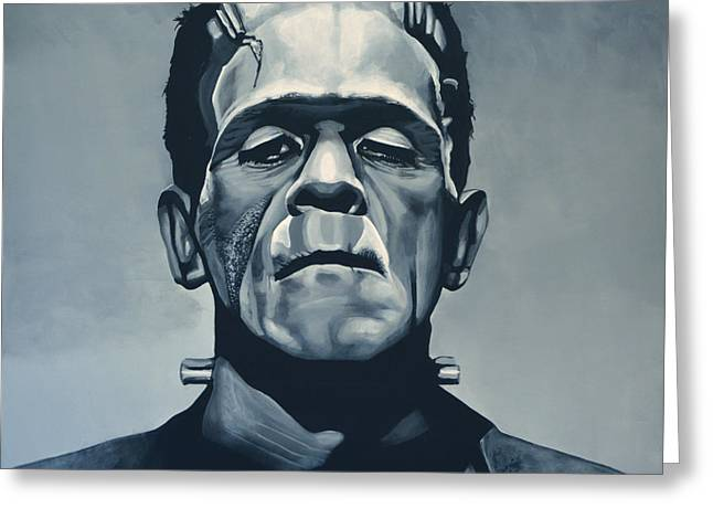 Horror Film Greeting Cards - Boris Karloff as Frankenstein  Greeting Card by Paul  Meijering