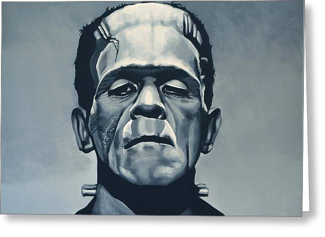 Monsters Greeting Cards - Boris Karloff as Frankenstein  Greeting Card by Paul Meijering
