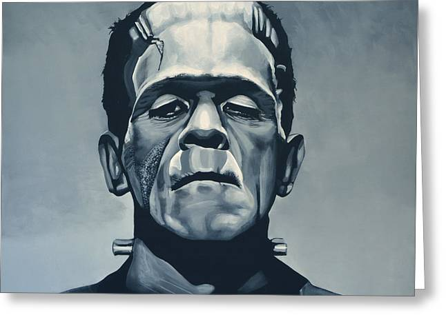 Batman Greeting Cards - Boris Karloff as Frankenstein  Greeting Card by Paul Meijering
