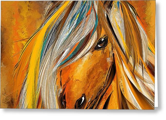 Gray Horse Greeting Cards - Born Free-Colorful Horse Paintings - Yellow Turquoise Greeting Card by Lourry Legarde