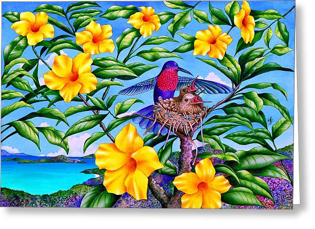Sea Animals Greeting Cards - Born In Paradise Greeting Card by Carolyn Steele