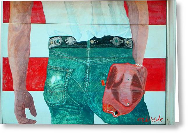 Midwest Artist Greeting Cards - Born in the USA Urban Garage Door Mural Greeting Card by Chris Berry