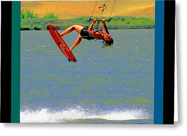 Kite Boarding Digital Art Greeting Cards - Born Of Wind And Water Greeting Card by Joseph Coulombe
