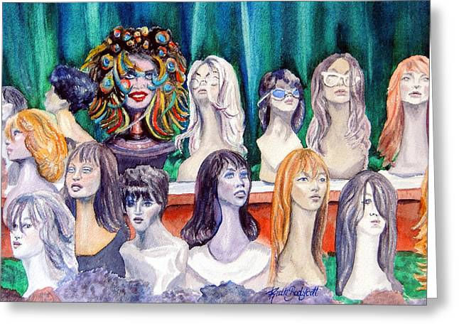 Head Stand Paintings Greeting Cards - Born to be Wigged   Who IS that Masked Woman Greeting Card by Ruth Bodycott