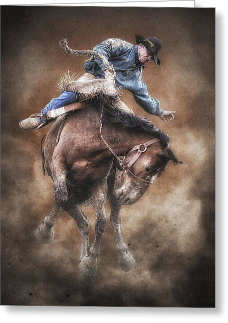 Bucking Horses Greeting Cards - Born to Buck Live to Ride Greeting Card by Ron  McGinnis