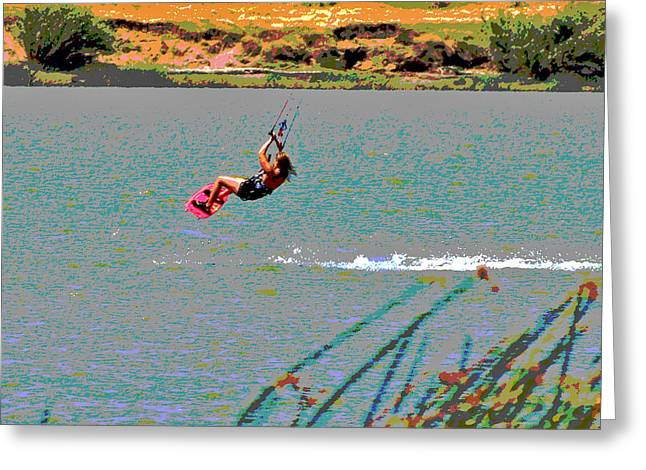 Kite Boarding Digital Art Greeting Cards - Born to Fly Greeting Card by Joseph Coulombe