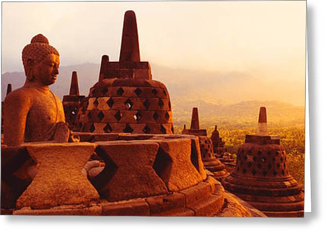 Historic Statue Greeting Cards - Borobudur Buddhist Temple Java Indonesia Greeting Card by Panoramic Images