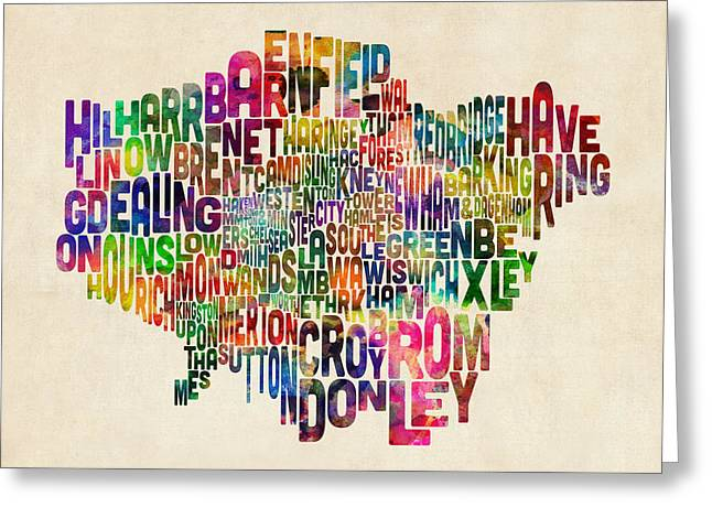 Cartography Digital Art Greeting Cards - Boroughs of London Typography Text Map Greeting Card by Michael Tompsett