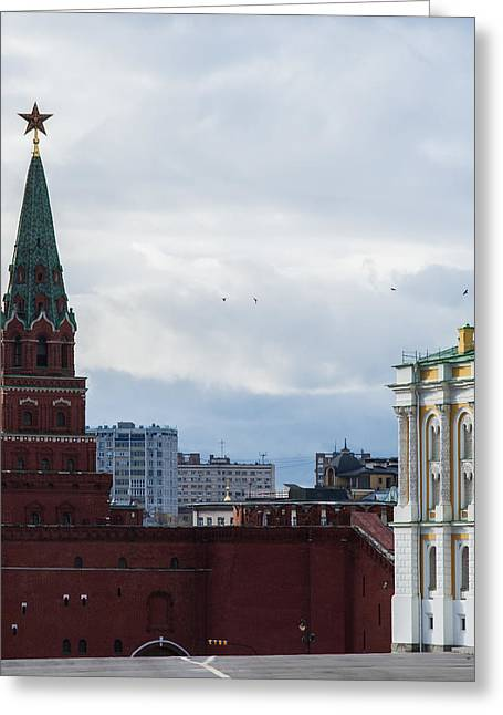 Civilization Greeting Cards - Borovitskaya Tower Of Moscow Kremlin - Square Greeting Card by Alexander Senin