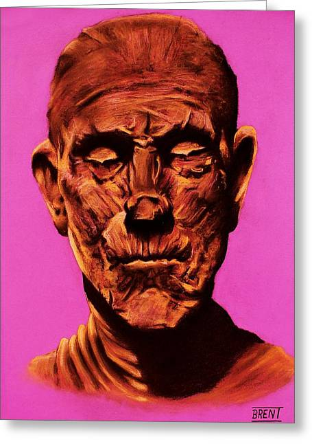 Awesome Pastels Greeting Cards - Borris The Mummy Karloff Greeting Card by Brent Andrew Doty